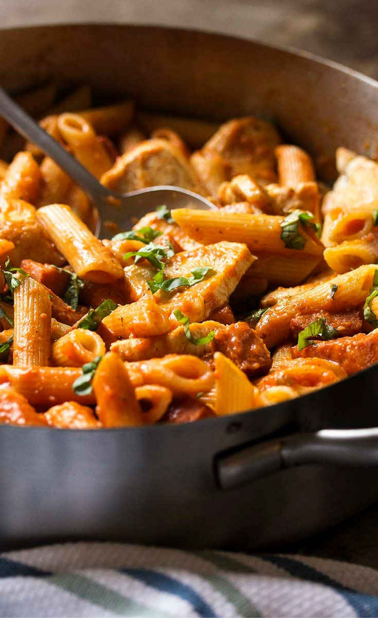 My penne alla vodka is creamy and full of deep tomato flavor from homemade marinara along with plenty of seared chicken and chorizo sausage. Easy weeknight meal!