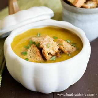 Roasted Acorn Squash Soup with Homemade Croutons