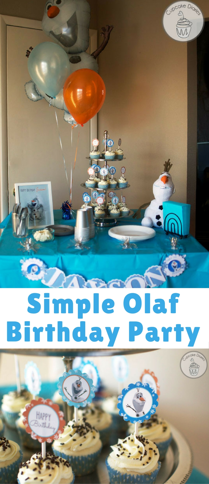 My sweet nephew, Jaxson, turned one in January and his mom wanted to throw him an Olaf birthday party. I was thrilled when she asked me to help her with it! She didn't want anything over the top, but she also wanted to make it special with a few different elements. It ended up being a darling party.