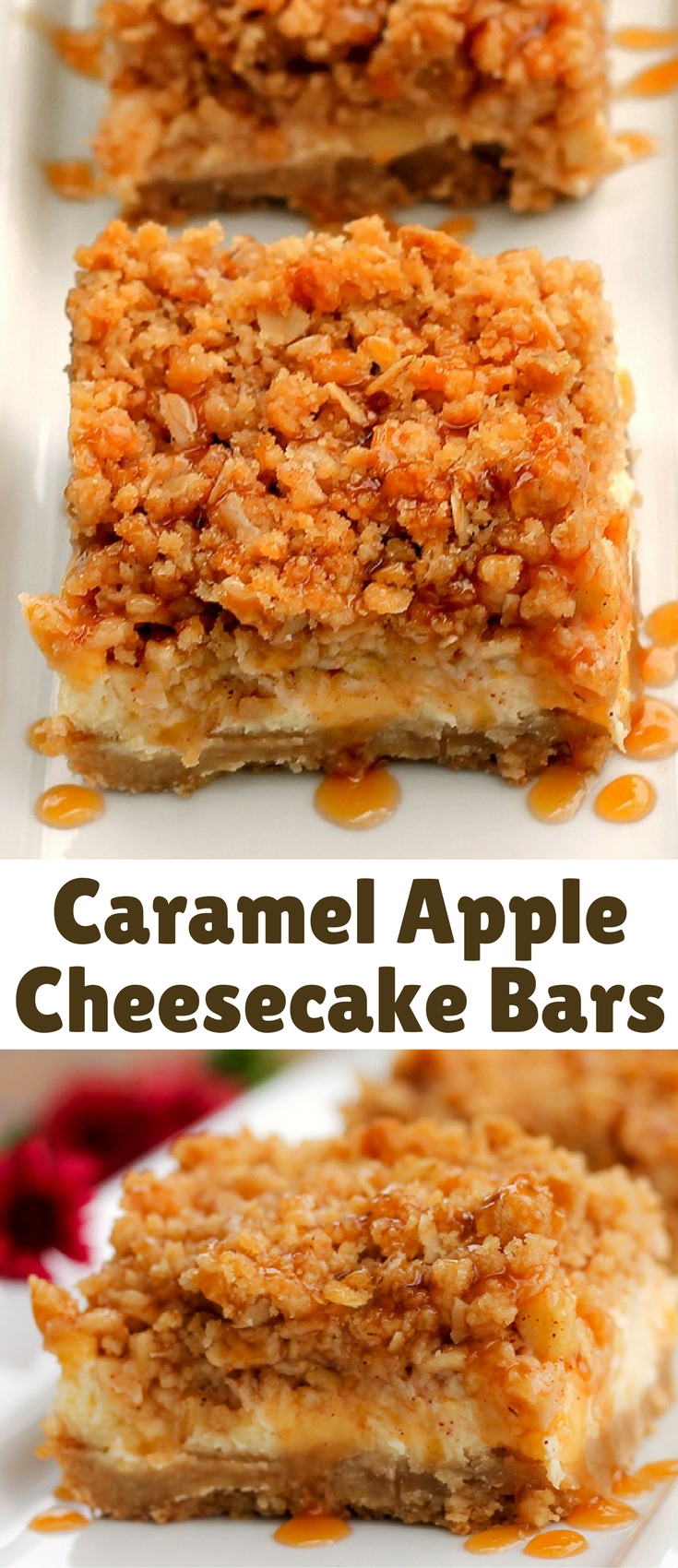 Caramel Apple Cheesecake Bars… I loved these bars! They have the textures of smooth and crunchy along with the flavors of tart and sweet to make for a very delightful taste experience.