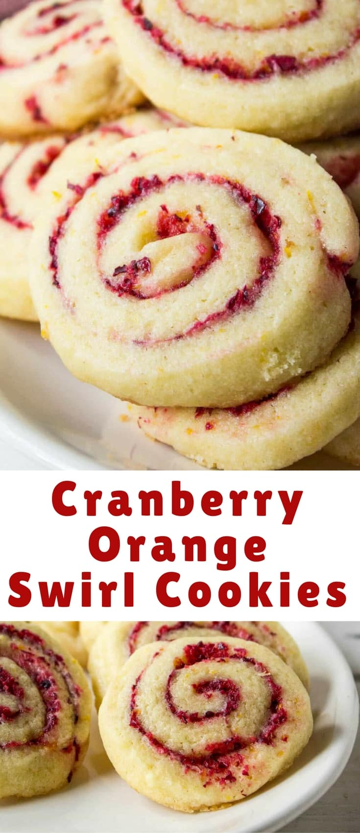 Cranberry Orange Swirl Cookies are pure deliciousness! This is a sugar cookie dough with added orange peel and a fresh cranberry and orange filling!
