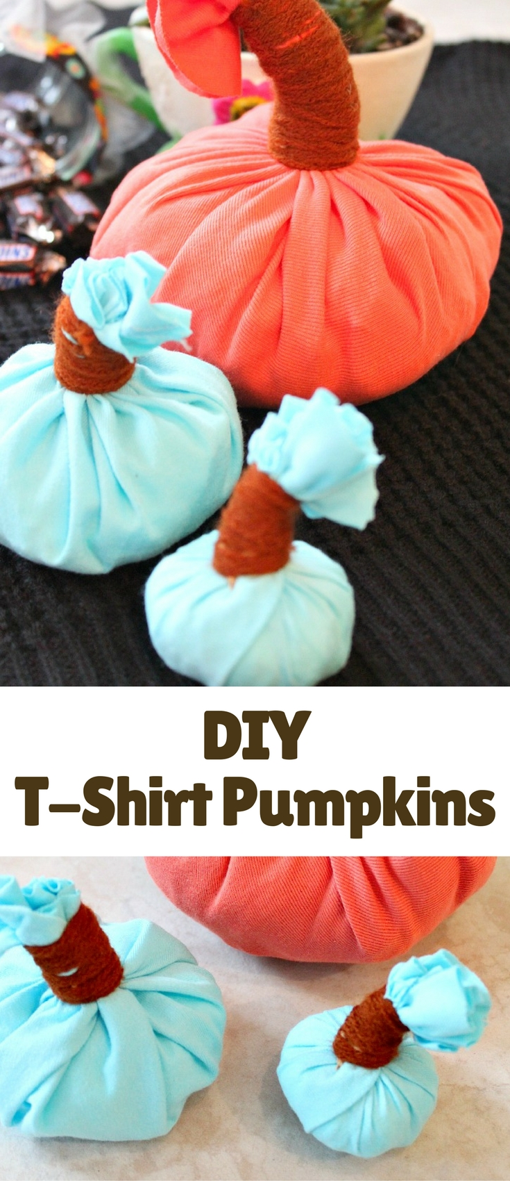 Need ideas for a fun and super frugal DIY home decor project to get your house pretty in fall? Here's a no carve DIY Pumpkin home decor, made out of old t-shirts and outgrown clothing.