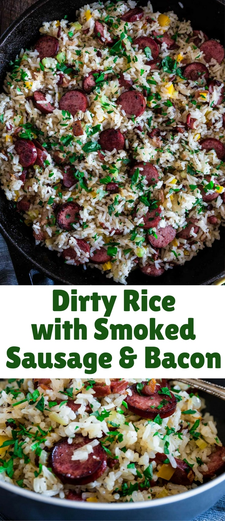 This spin on the classic Cajun/Creole Dirty Rice is made with bacon and smoked sausage instead of the traditional chicken liver. Easy, hearty and perfect as a weeknight meal or as a side dish for a special occasion.