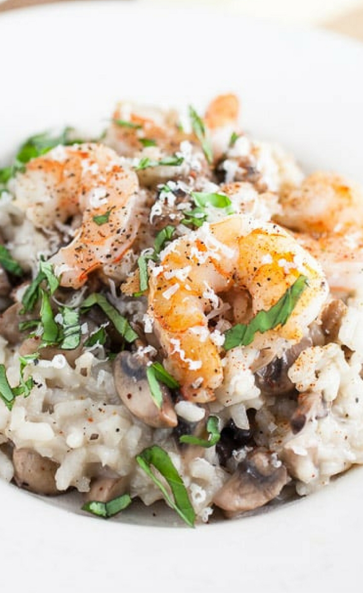 A tasty risotto dish that's full of mushroom flavor and topped with garlicky shrimp. This risotto makes a perfect romantic dinner for two!