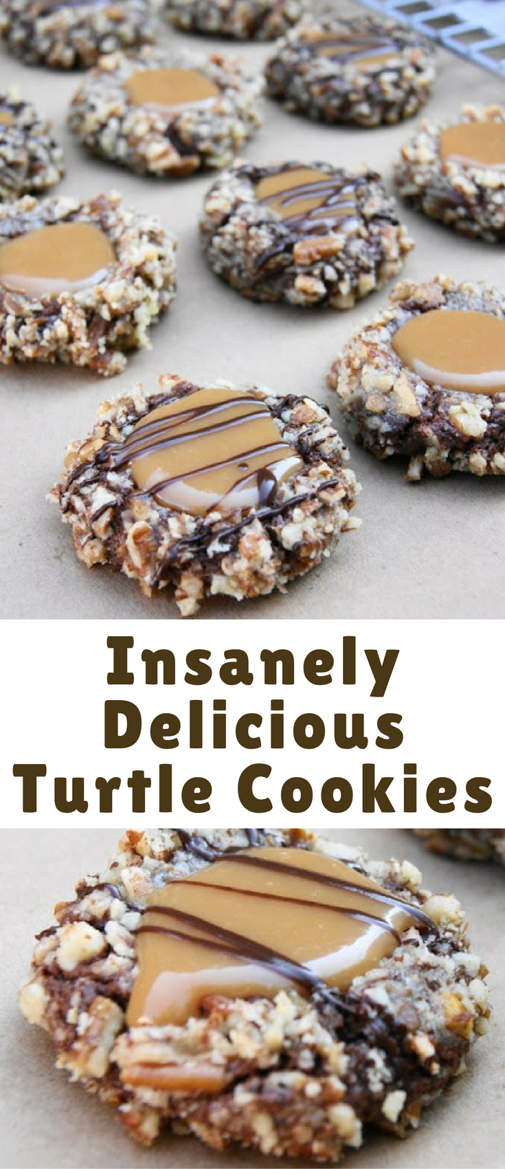 The classic flavors of turtle candy ... chocolate, pecans, and caramel ... in soft and insanely delicious Turtle Cookies.