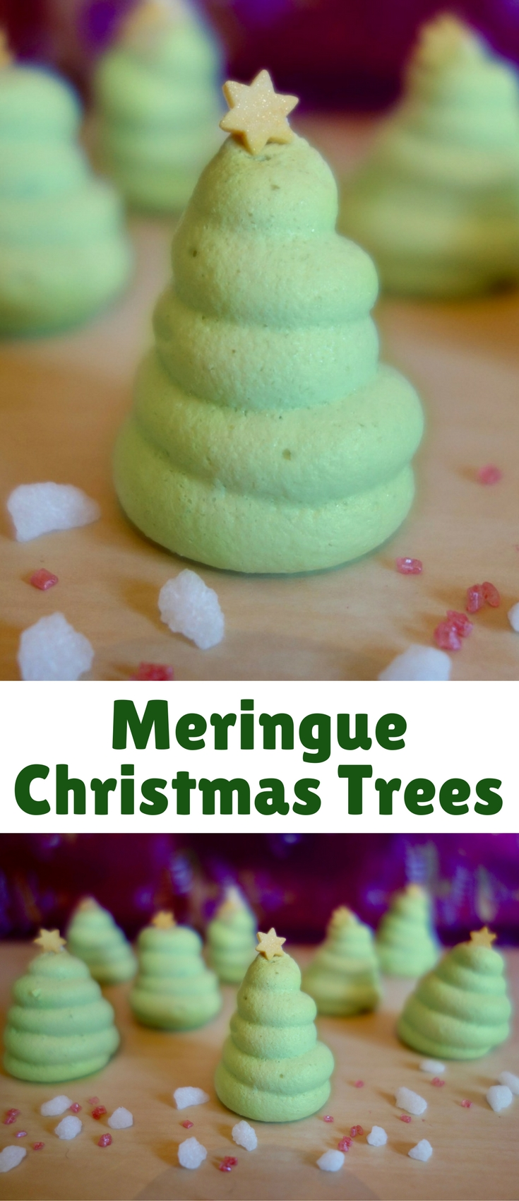 These little meringue Christmas trees are great for a Christmas party or to give as favours.