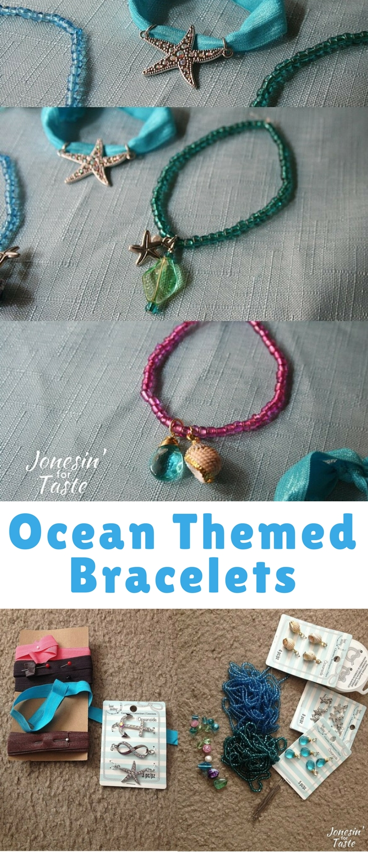 These super simple Ocean Themed Bracelets were simple enough to do with my daughter and fun for me to do as well.
