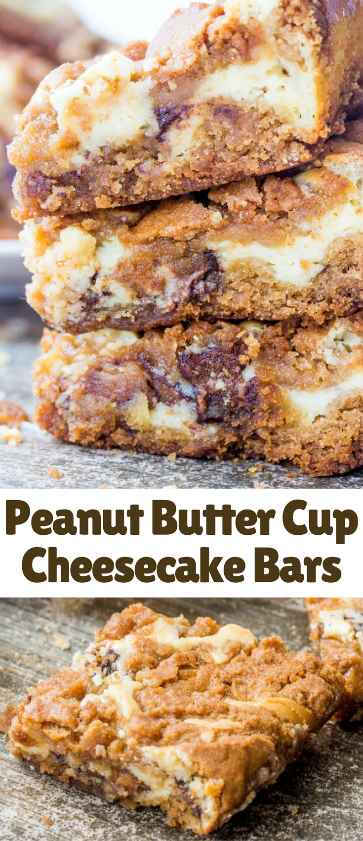 Ooey gooey and delicious these Peanut Butter Cup Cheesecake Bars mashup cookies with cheesecake with a favorite candy baked right in!
