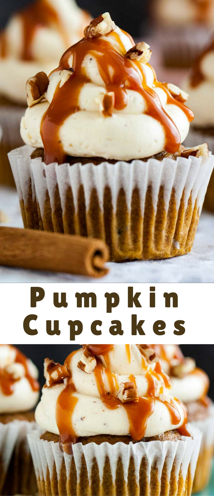 These Pumpkin Cupcakes are the perfect fall dessert! Perfectly spiced pumpkin cupcakes topped with an easy brown butter frosting and drizzled with salted caramel sauce. A must-bake this fall!