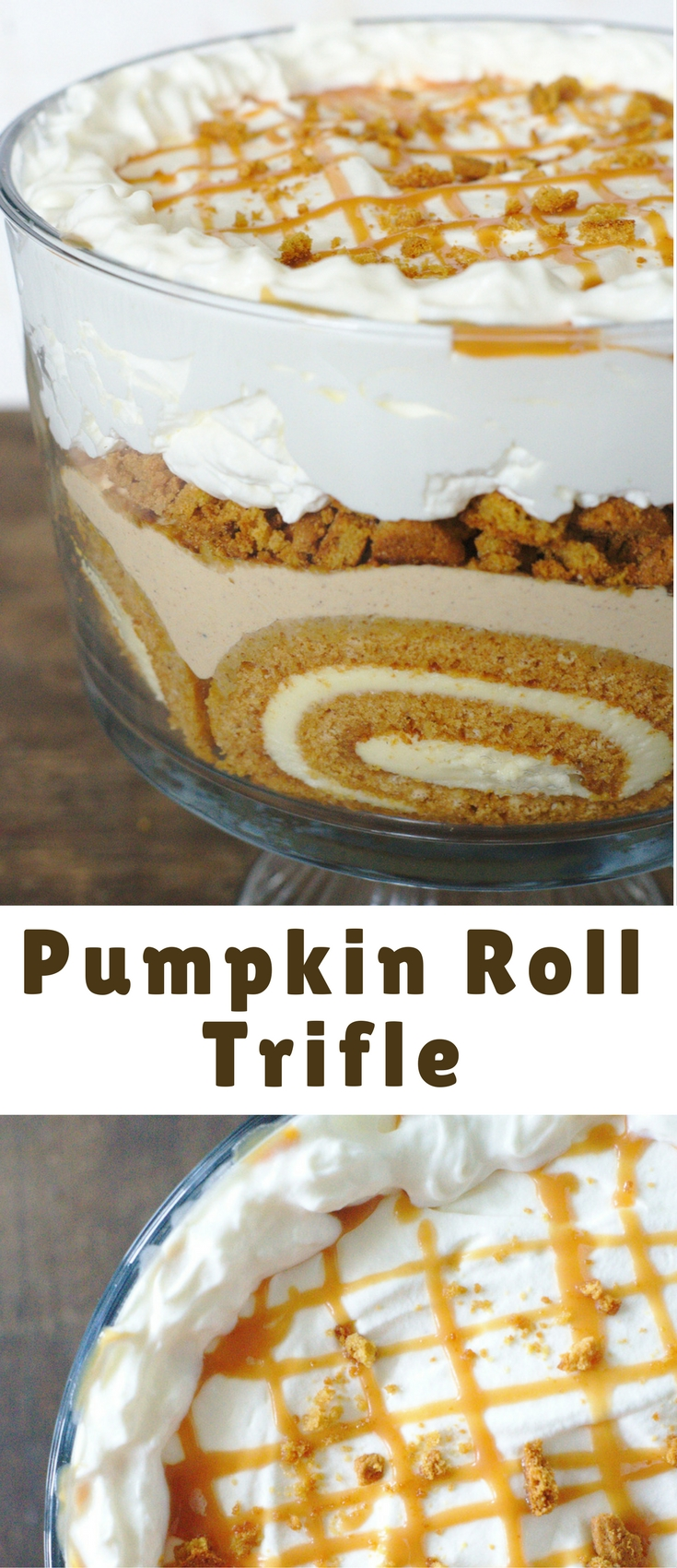 Pumpkin Roll Trifle – An elegant fall dessert that's perfect to feed a crowd! Gorgeous layers of pumpkin roll, crushed gingersnaps, pumpkin mousse, and whipped cream!