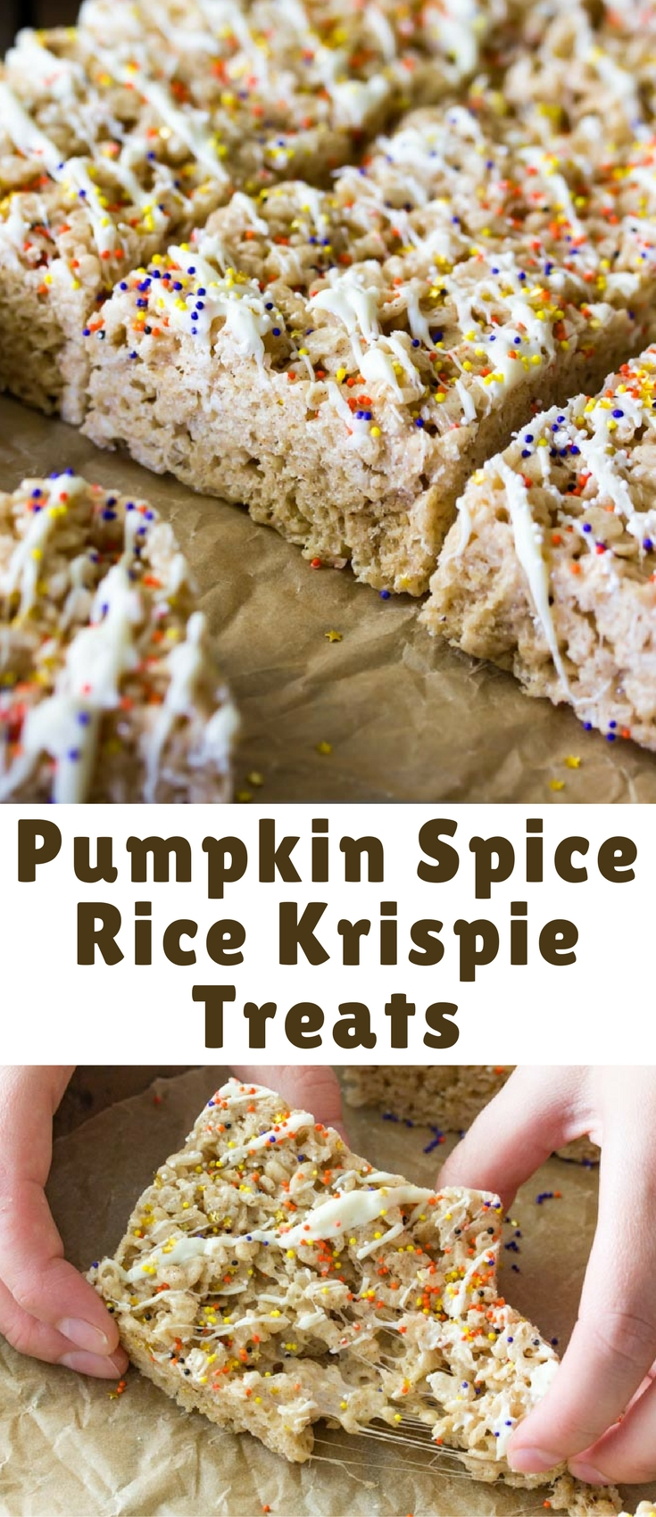 Sweet pumpkin spice rice krispie treats made with the best spices of Fall, flavorful browned butter, and drizzled with white chocolate. Don't forget to top everything off with sprinkles!