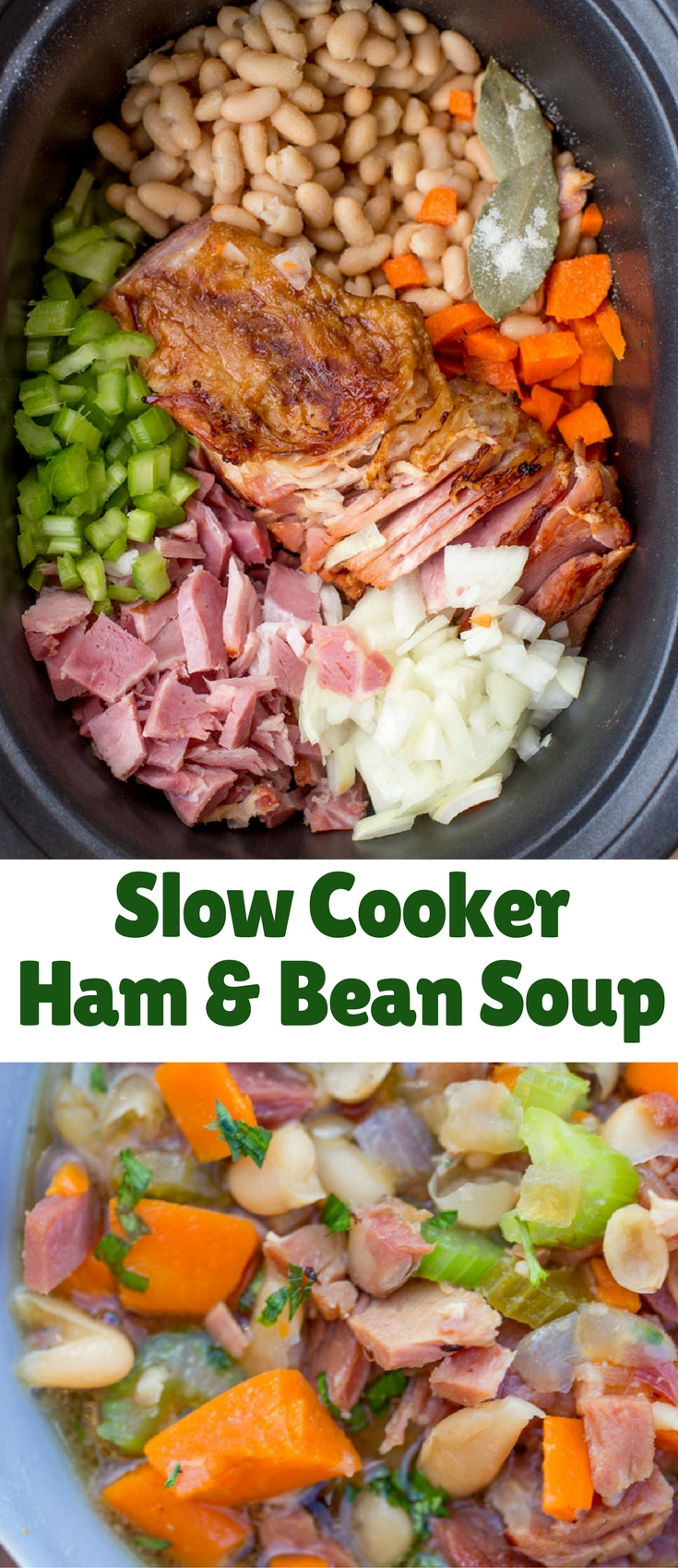 Slow Cooker Ham and Bean Soup is the perfect recipe after your holiday ham when you want a cozy warm soup to help you recover from holiday cooking!