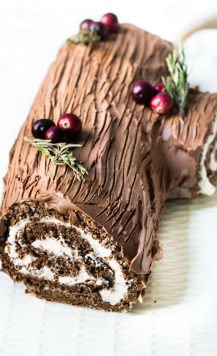One of my favorite cakes to make during the holiday season is this bûche de nöel. The cake is a holiday tradition for the French made during Christmas time.