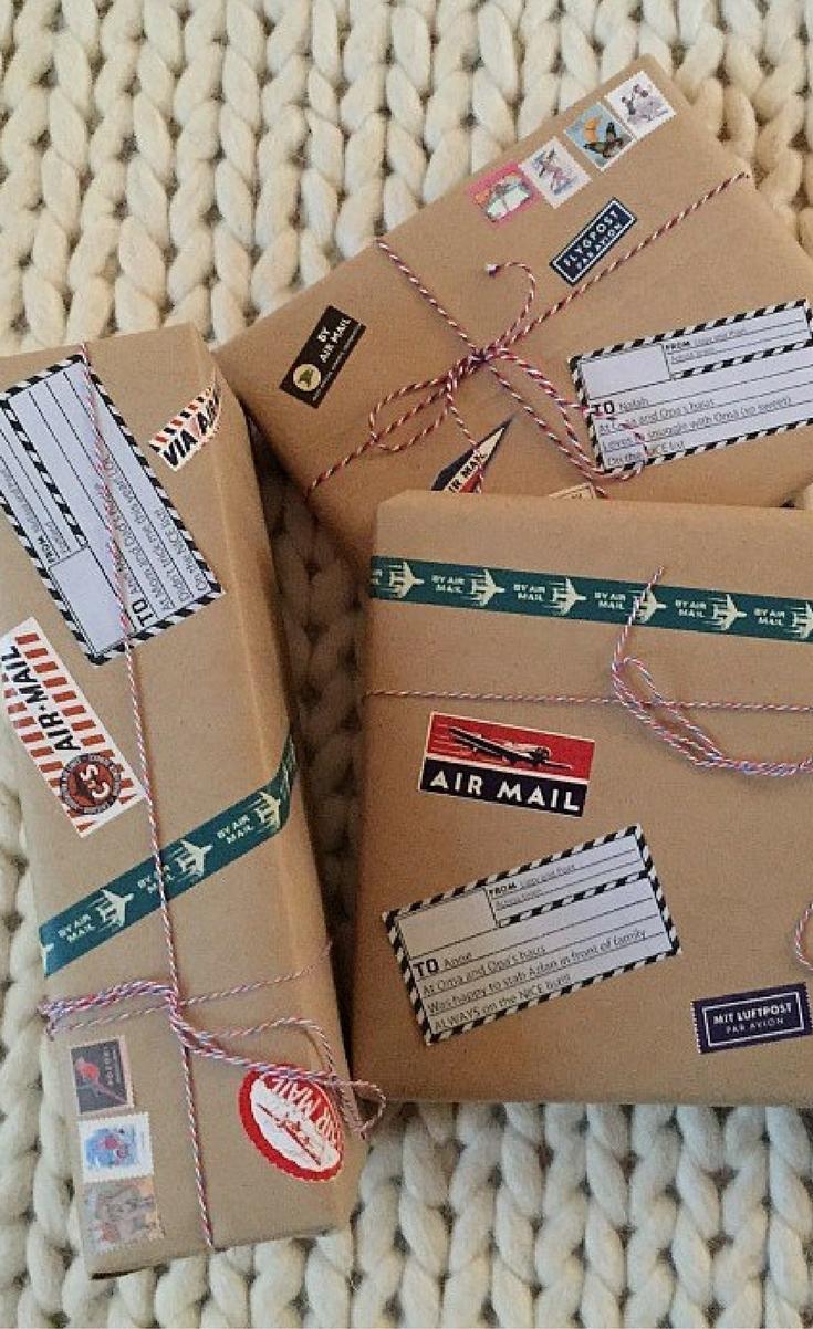 Who doesn't want to open a package that has made its way from a far off land? I have the perfect solution for you, airmail themed gift wrap.