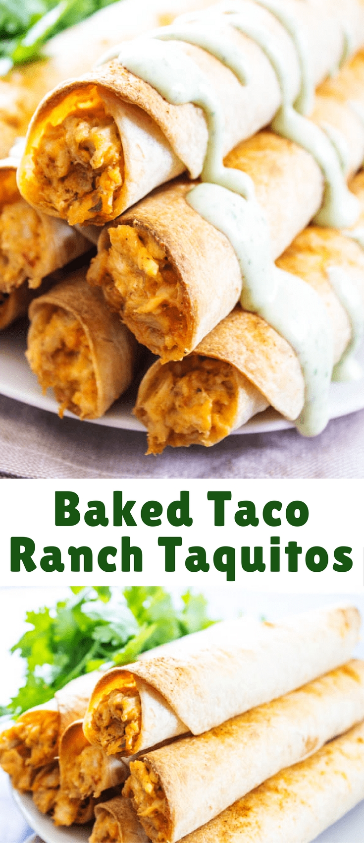 BAKED TACO RANCH TAQUITOS - Filled with a cheesy taco ranch chicken and baked to perfection, they are just perfect for any game day or holiday get together.
