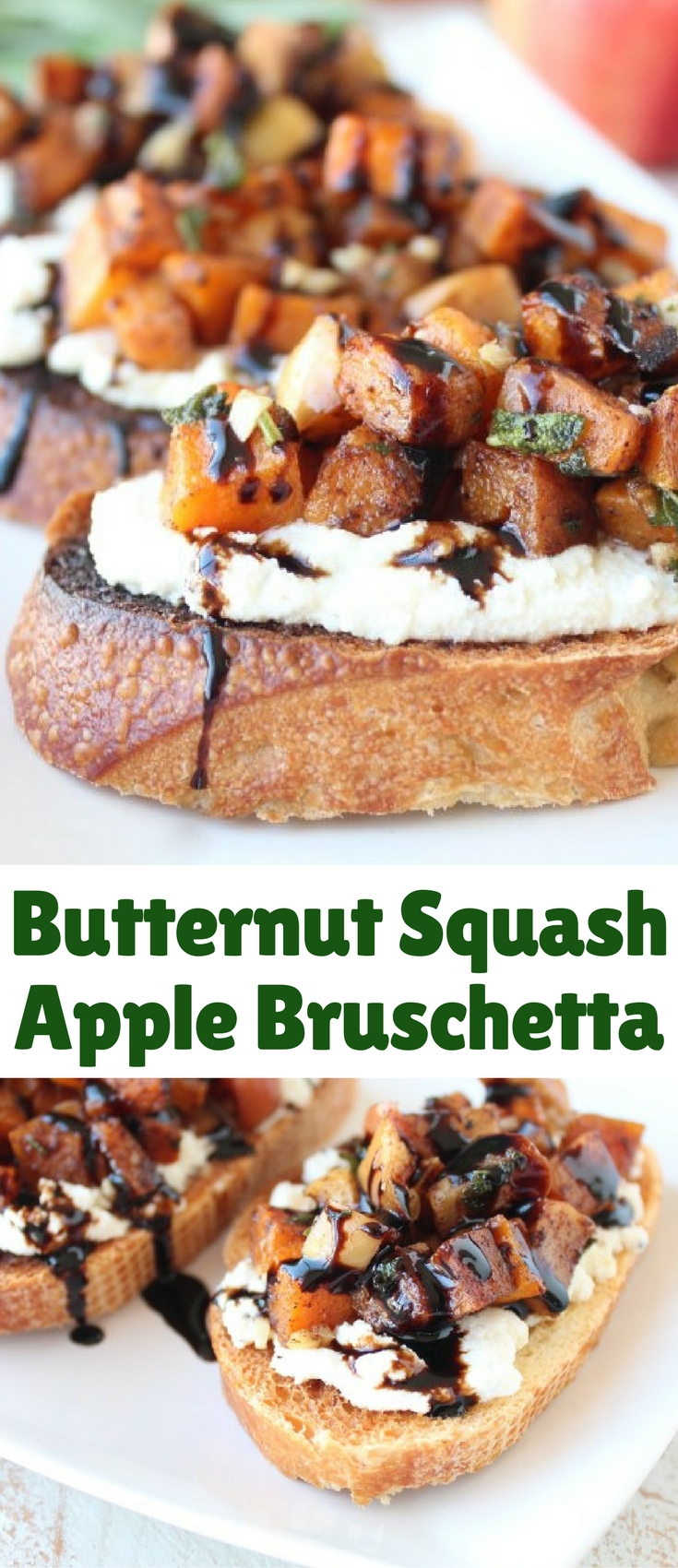 Butternut squash & apples are roasted in fall spices for a delicious twist on bruschetta, making this vegetarian recipe the perfect appetizer for fall!