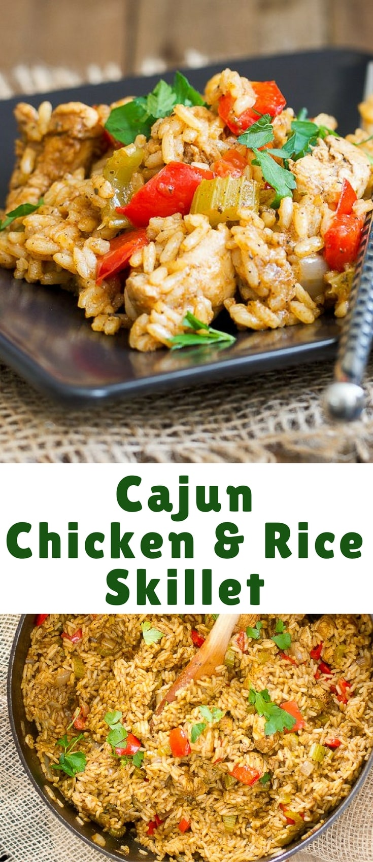 This Cajun Chicken and Rice Skillet is an easy one pot meal that's hot, hot, hot! Of course, if you don't like the heat, you can turn it down with less cayenne pepper.