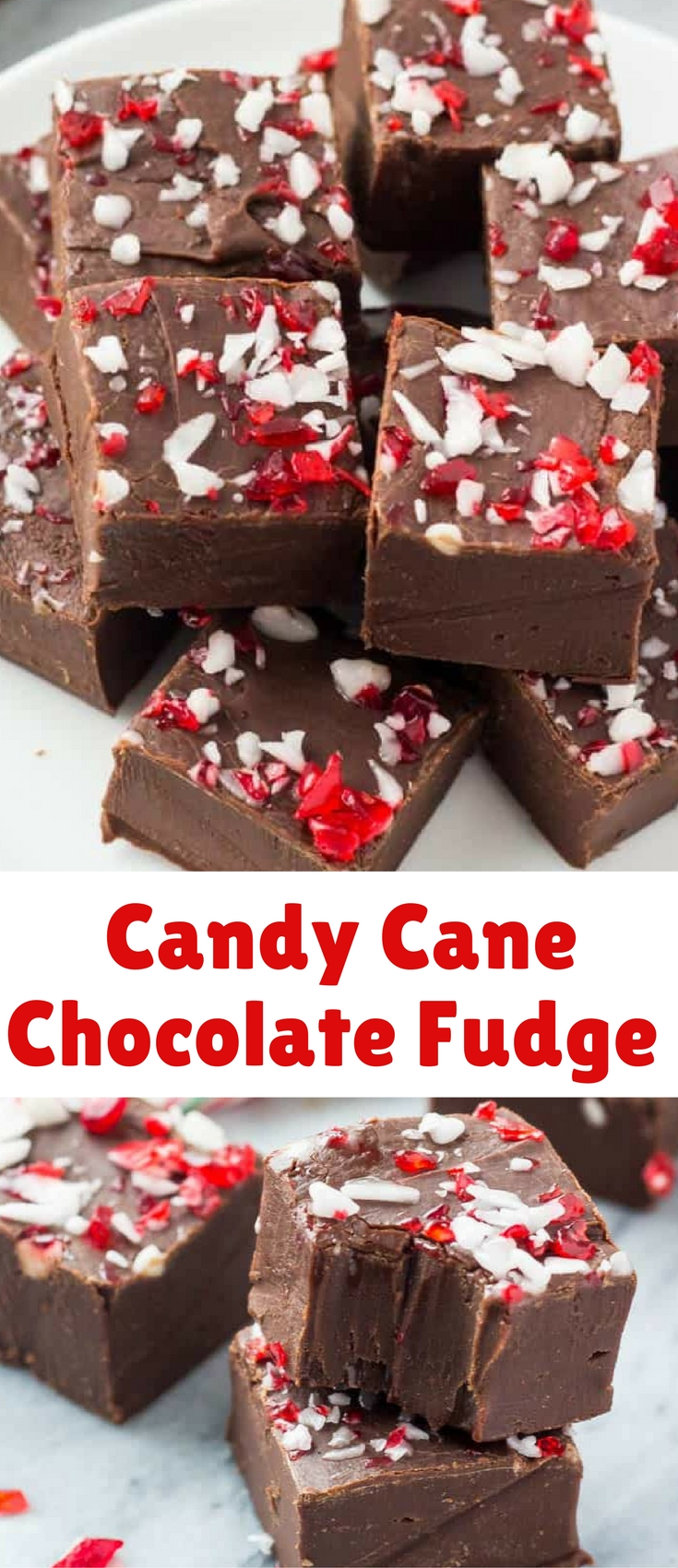 This Candy Cane Chocolate Fudge is smooth, creamy & perfect for Christmas! So easy to make – it's a great gift too!