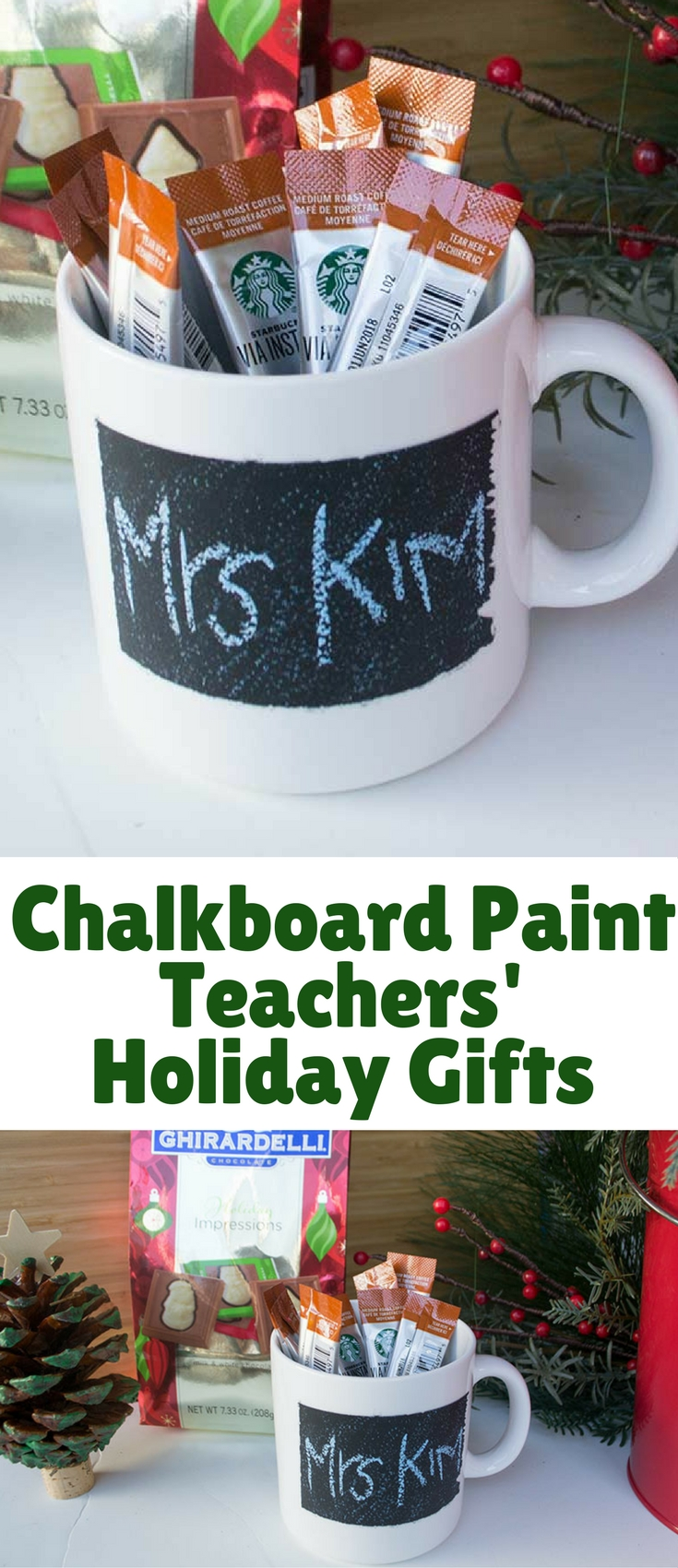 Chalkboard Paint Teachers' holiday gifts to give a one of a kind gift that is personalized! Using chalkboard paint made for glass, it couldn't be easier.
