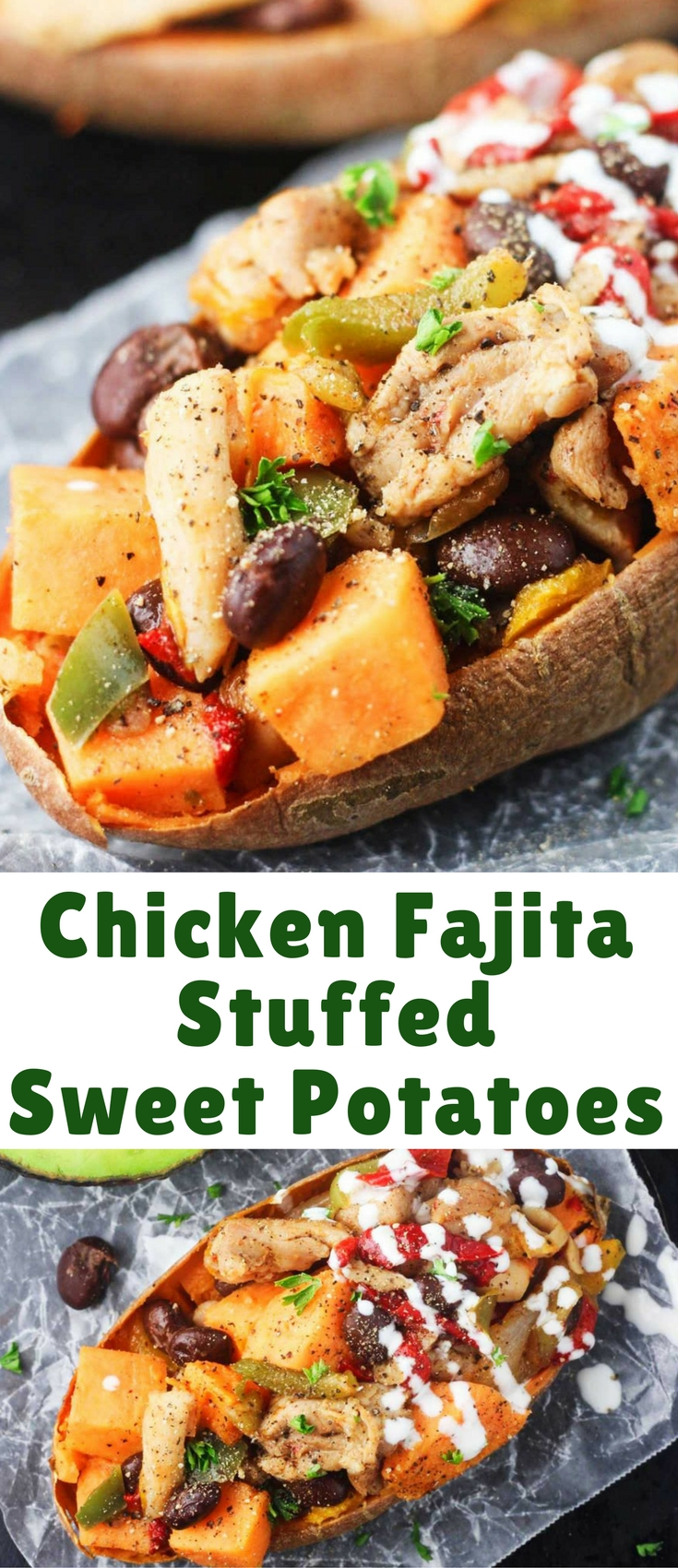 Deliciously flavorful sweet potato skins stuffed with juicy chicken and a combination of peppers and spices.