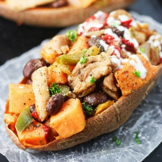 Chicken Fajita Stuffed Sweet Potatoes