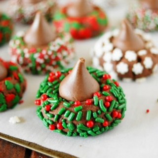 Christmas Chocolate Kiss Cookies