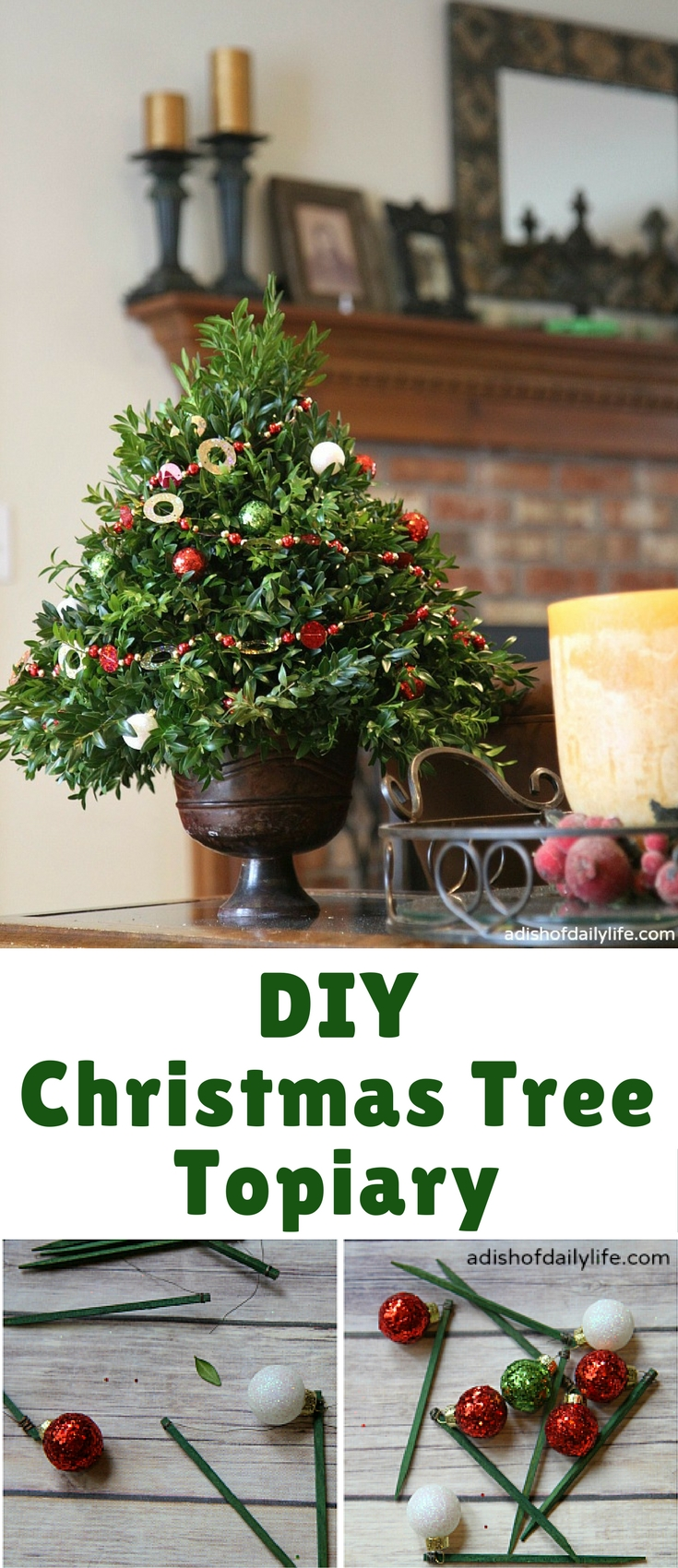This festive DIY Christmas Tree Topiary is perfect as a hostess gift or for holiday decorating!