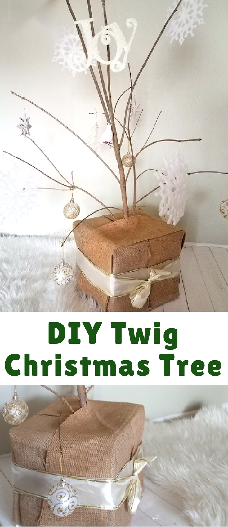 My DIY twig Christmas tree has turned into my favorite Christmas decoration in our house! It is minimalist yet interesting, and it cost a grand total of $10, which was the cost of the ornaments and ribbon at the Dollar Tree. Not bad considering that it is adorning our living room for the third year!