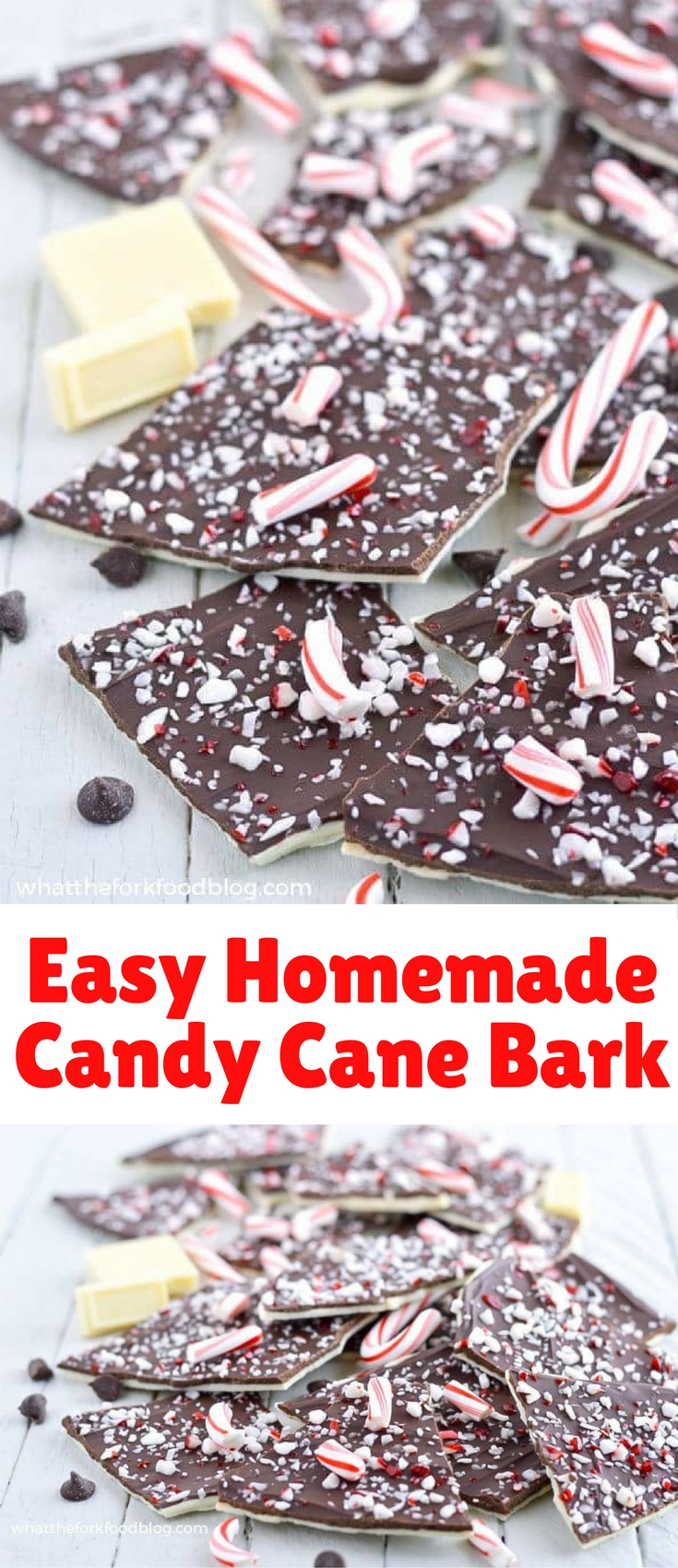 This homemade candy cane bark makes an easy last minute gift, hostess gift, or dessert. Just a few ingredients plus 10 minutes and it's done! So simple!