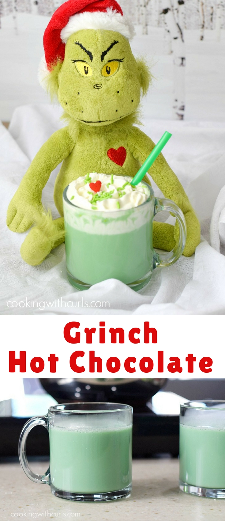 we serve everyone Naughty or Nice Grinch Hot Chocolate!! I'm not exactly sure which is Naughty and which is Nice….the one with the alcohol or the extract…but both of absolutely delicious. 🙂
