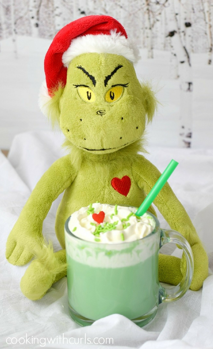 We serve everyone Naughty or Nice Grinch Hot Chocolate!! I'm not exactly sure which is Naughty and which is Nice….the one with the alcohol or the extract…but both of absolutely delicious.
