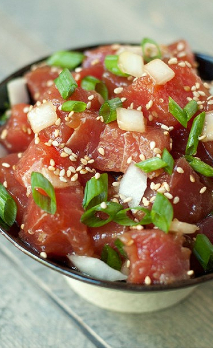 A Hawaiian classic: chunks of Ahi tuna and onions tossed in a sesame soy sauce marinade.