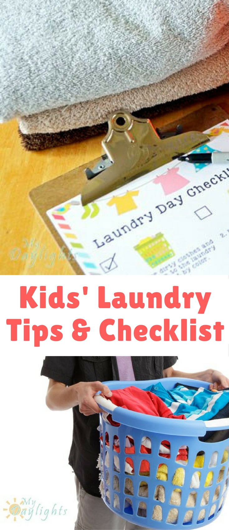 I created this fun checklist for two reasons. First, my oldest loves putting a piece of paper on clipboard and checking things off. It makes him feel like he's in charge! And second, both of my kids are still learning to read. So the checklist needed to have fun pictures that could help guide them through the process: