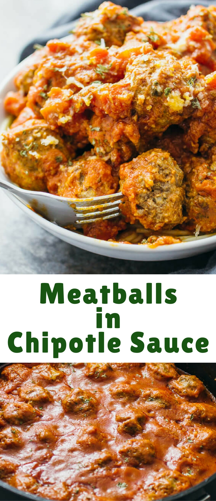 This is an easy and fast recipe for homemade meatballs that do not involve baking nor the crockpot. These meatballs are cooked via stovetop simmering in a deliciously hot and spicy chipotle sauce.