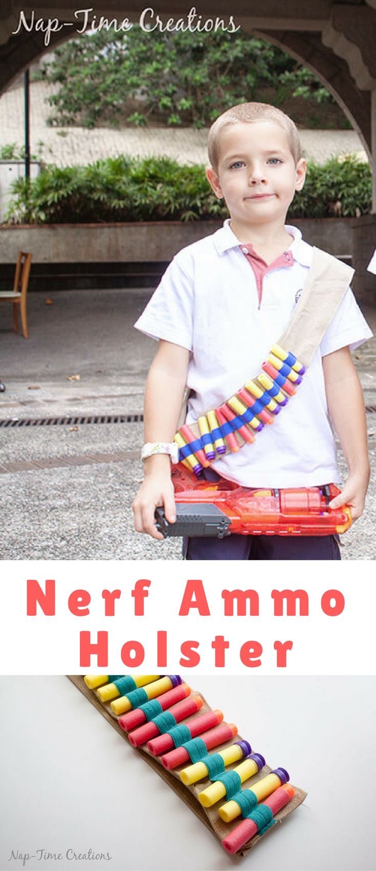 The boys have been after me to make them Nerf Ammo Holsters and today I'm showing how to make one for your boys {or girls} too.