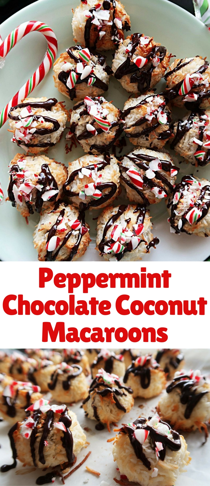 These coconut macaroons are flavoured with peppermint, have chocolate chips baked inside, and are drizzled with melted chocolate and crushed candy canes! A Christmas-themed holiday treat!