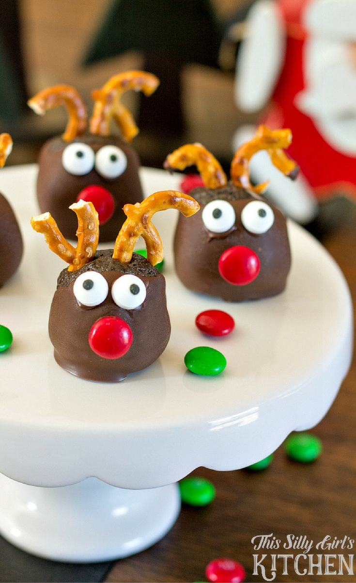Rudolph Oreo Cookie Balls, fun and festive, made with mint Oreos for an extra holiday twist!It would be a great one to make with the kiddos!