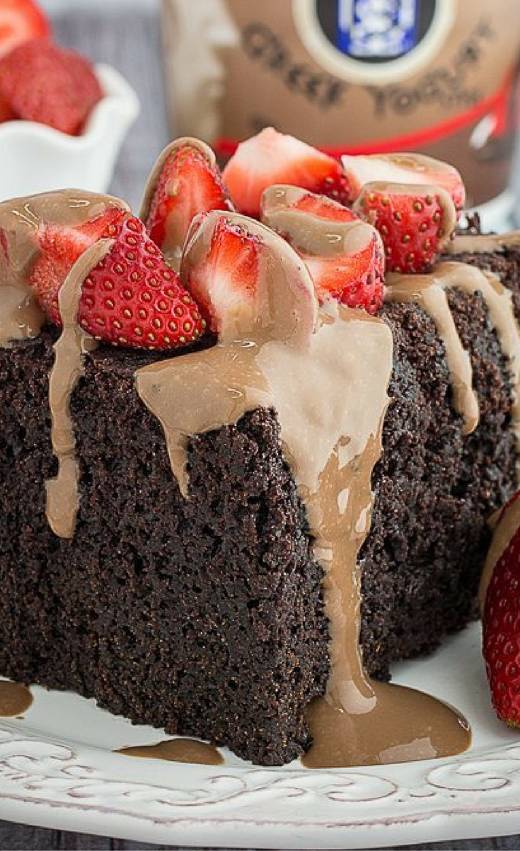Slow Cooker Chocolate Strawberry Cake & Yogurt Glaze is the most decadent thing that will ever come out of your slow cooker.