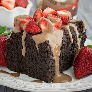 Slow Cooker Chocolate Strawberry Cake & Yogurt Glaze
