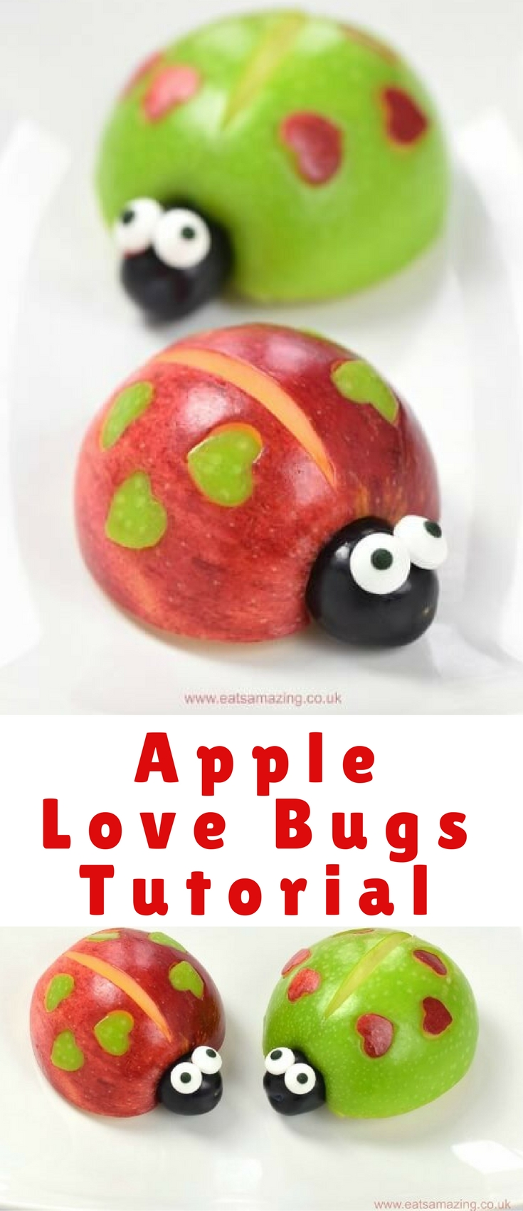 As Valentines Day fast approaches I've got another Valentines fun food idea to share with you – cute and easy apple love bugs!
