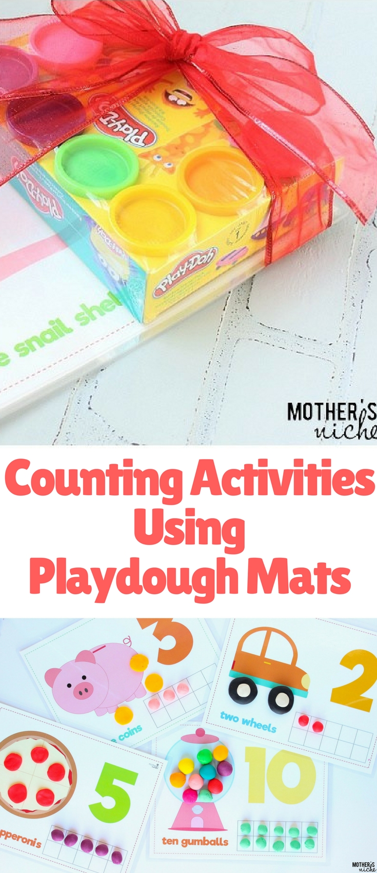These play dough mat counting activities are a great tool in teaching counting, coordination, problem solving and number recognition.
