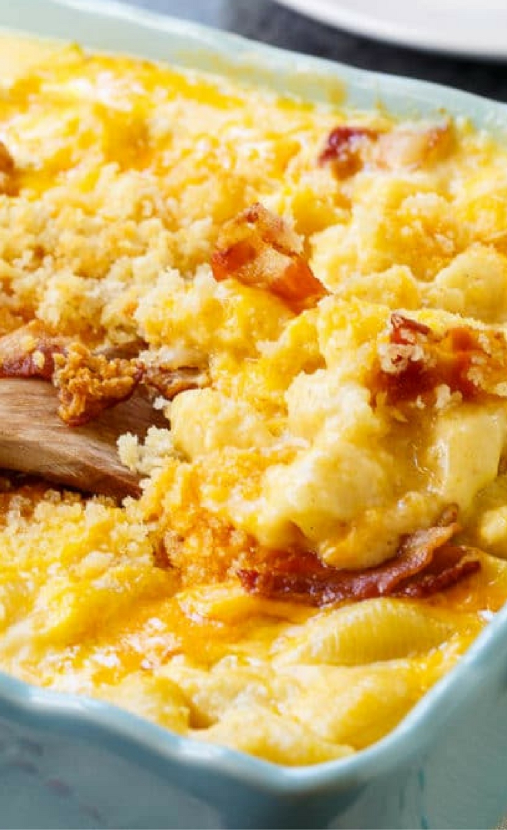 This Crab Mac and Cheese is super creamy and rich with lots of cheese and crumbled bacon on top.