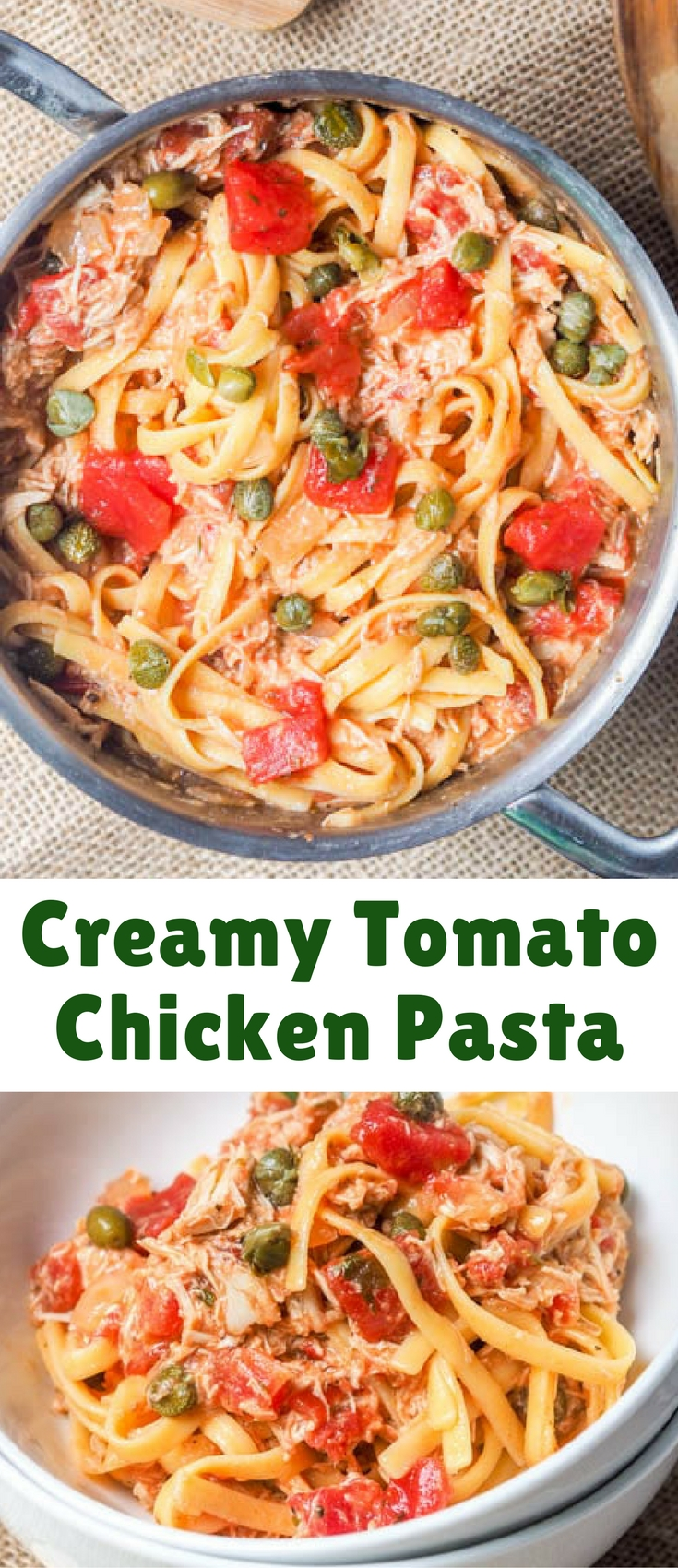 Creamy tomato chicken pasta - this 30 minute recipe makes for a perfect low fuss weeknight meal. Made with shredded rotisserie chicken, capers and a tomato sauce.