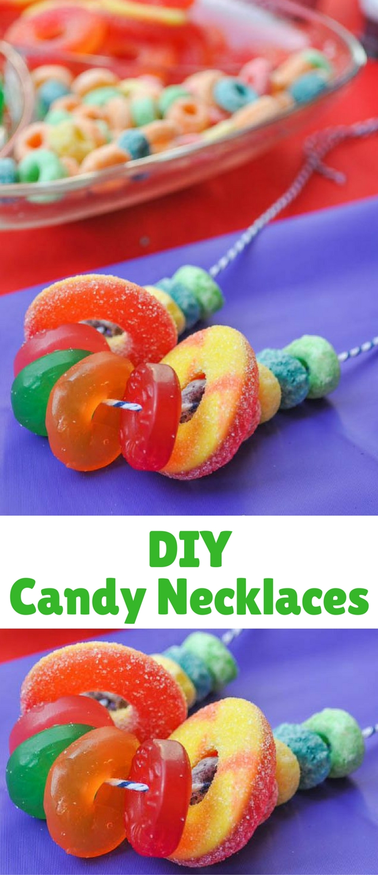DIY Candy Necklaces felt like the perfect fun, colorful activity to include for an Inside Out Party, especially since all the choices were colorful round circles like the memory balls in the movie.