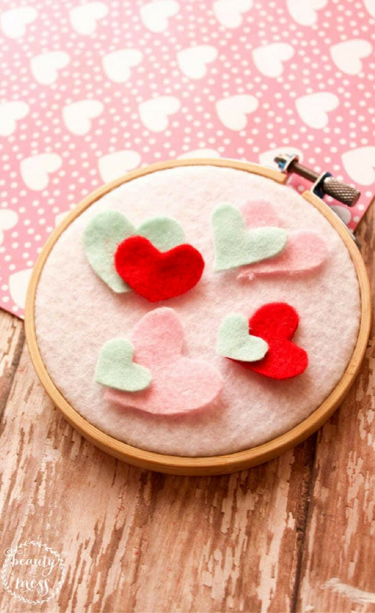 This felt wall hanging isn't just for a little girl's room though. They are perfect for Valentine's Day decor, and filling space in your Gallery Wall. There are so many possibilities.
