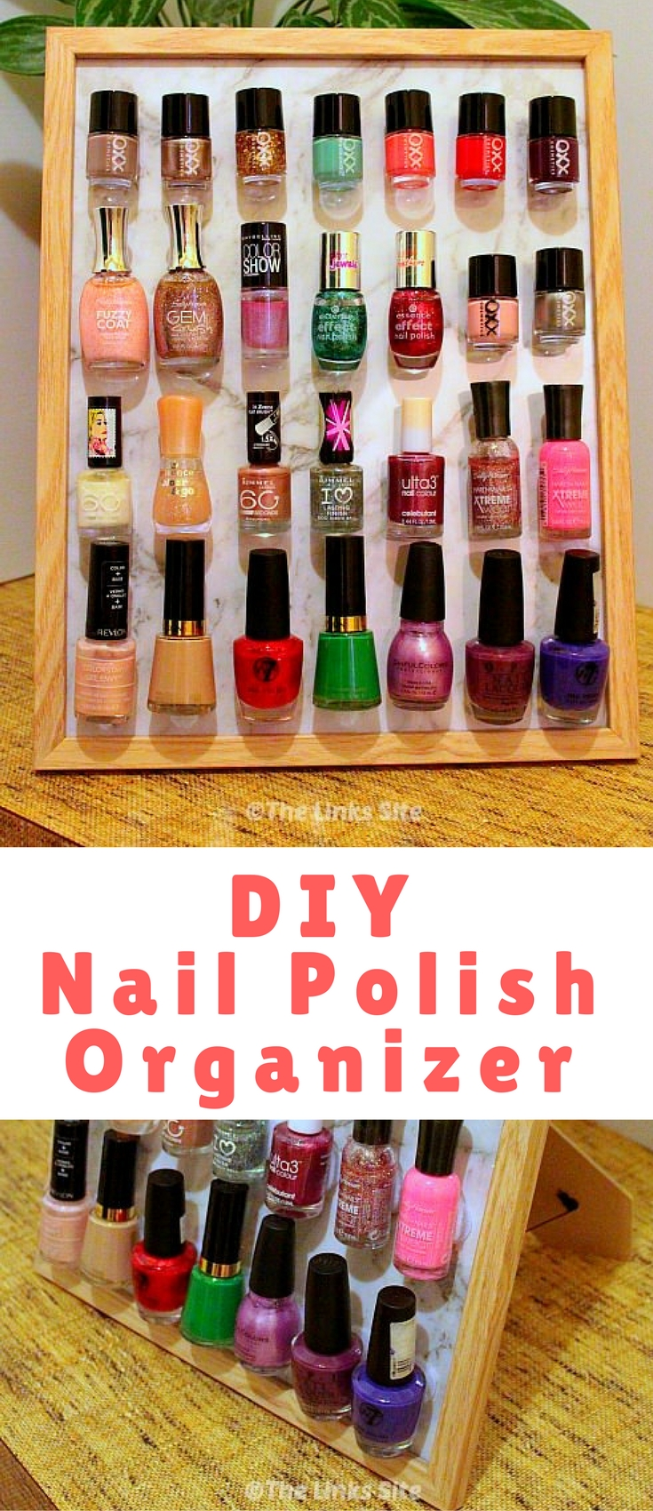 Lean how to use a photo frame to display your nail polish collection with this cute DIY Nail Polish Organizer. You won't believe how quick and easy it is to make!