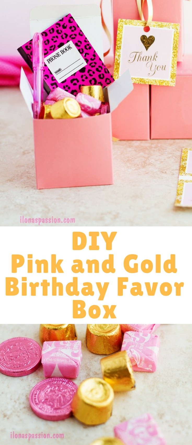 DIY Pink and gold birthday favor box idea with chocolate candies, little notepad and pen. Great gift idea for each little guest at the birthday party!
