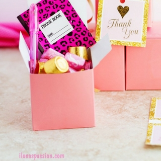 DIY Pink and Gold Birthday Favor Box Idea