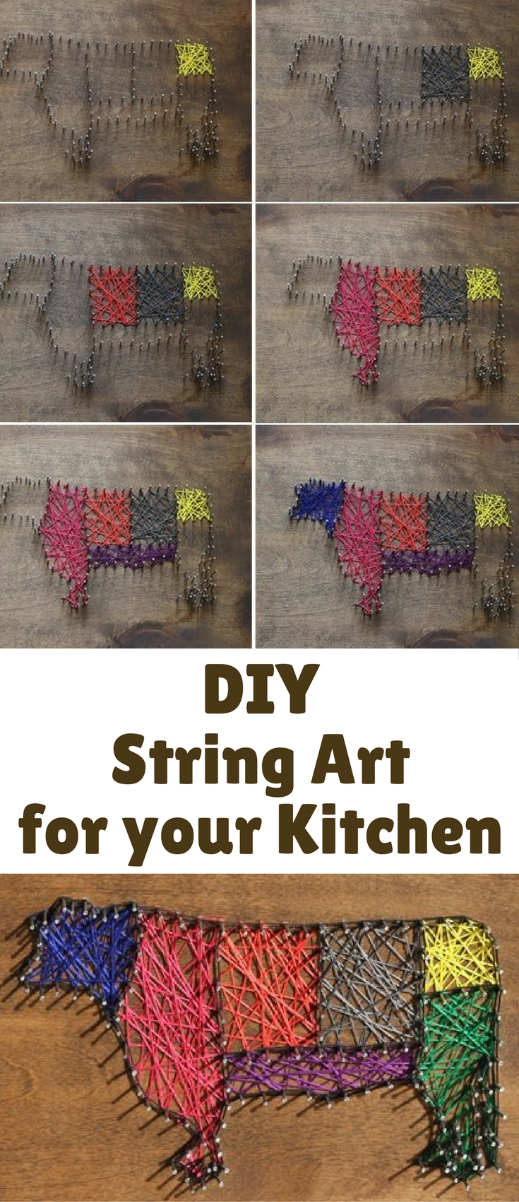 Well, crafting also results in something pretty awesome – in today's case, some awesome string art for my kitchen!