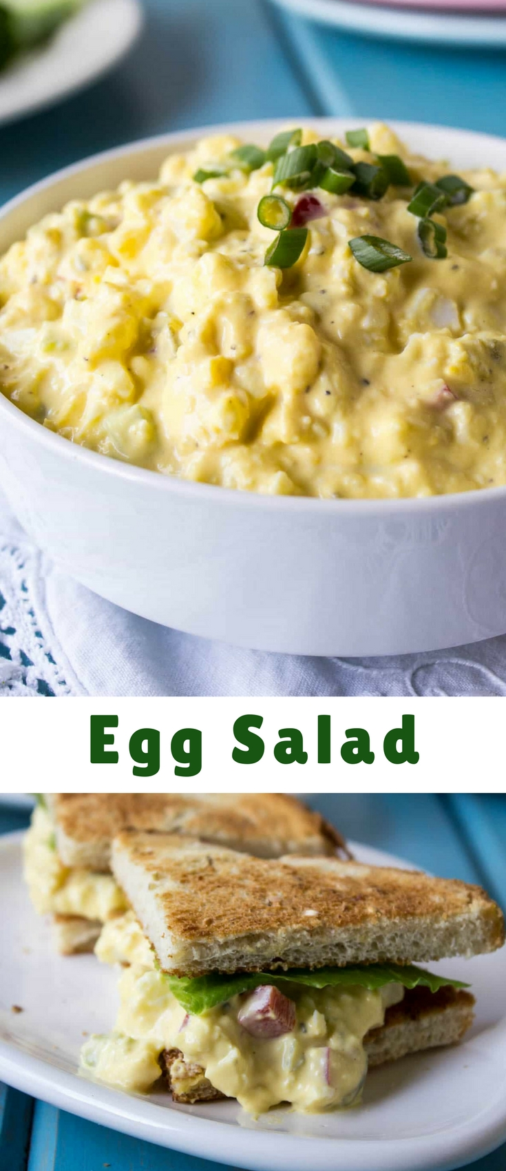 Egg salad is a great way to use up hard boiled eggs. Plus egg salad makes a great sandwich!